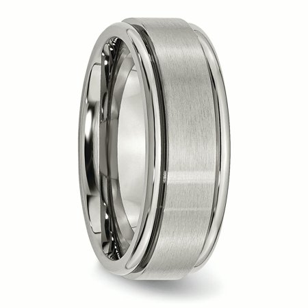 Titanium Ridged Edge 8mm Brushed Wedding Ring Band Size 11.00 Classic Flat W/edge Fashion Jewelry Gifts For Women For Her - image 6 de 10