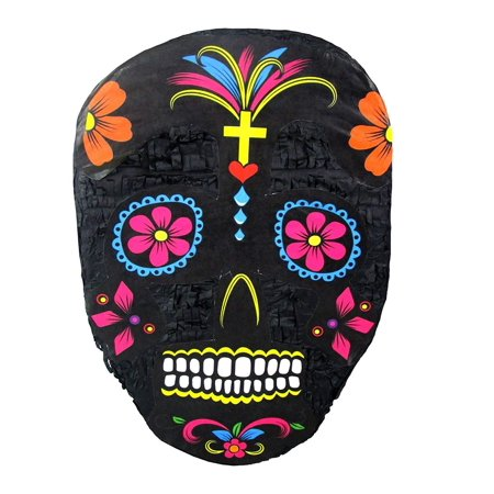 Black Sugar Skull Pinata, Day of the Dead Party Game, Halloween Prop and Decoration for $<!---->