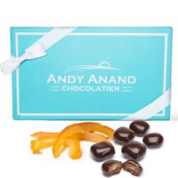 Andy Anand's Vegan Dark Chocolate Covered Orange Peel 1 lb, Amazing Taste, Delicious, Delectable, Gift Boxed & Greeting Card Birthday Valentine Day Christmas Gourmet Holiday Gifts Mothers Day Get Well