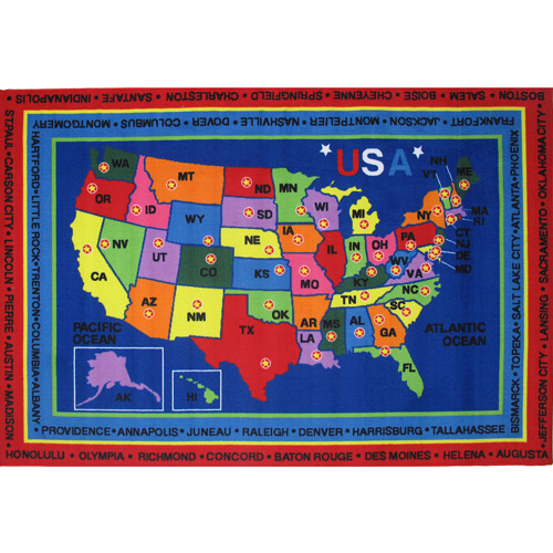 Fun Rugs Children's Fun Time Collection, State Capitals