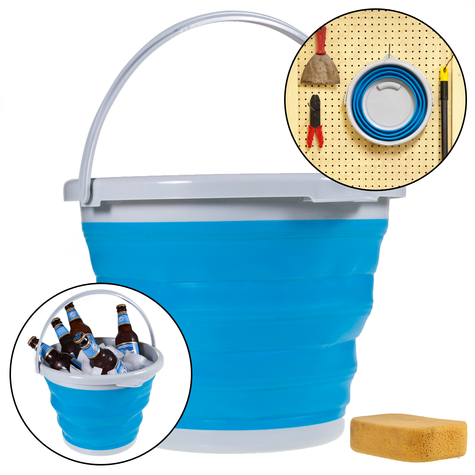 Simply Genius Foldable Silicone 10L Bucket 2.6 Gallon Collapsible Clean Camp Car