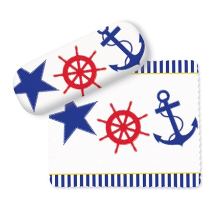 Sailor Red White and Blue Ship Wheel and Anchor Eye Glasses Case and Lens Cloth ()