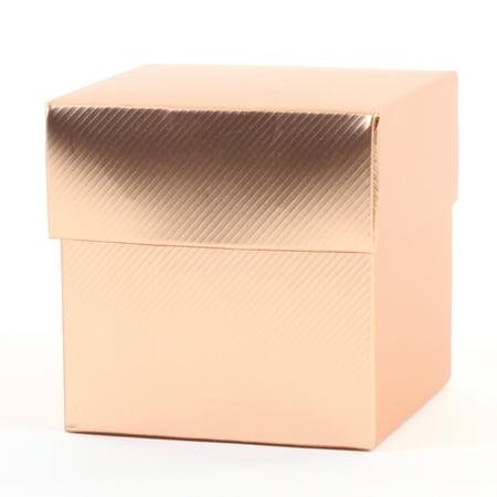 - Koyal Wholesale 2-Piece 50-Pack Square Favor Boxes, Rose Gold