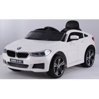 Ride on car BMW 6 GT 12V powered toy For Kids with Remote Control Leather Seat LED lights - White