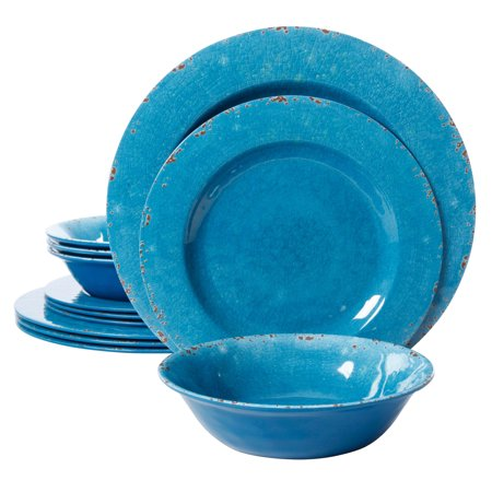 - Studio California Mauna 12 Piece Melamine Dinnerware Set in Blue Crackle Look Decal