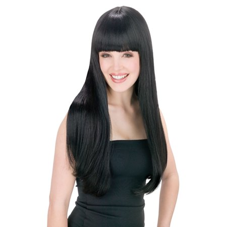 Cher Womens Pop Star Long Straight Black Wig - Beehive Wig Black