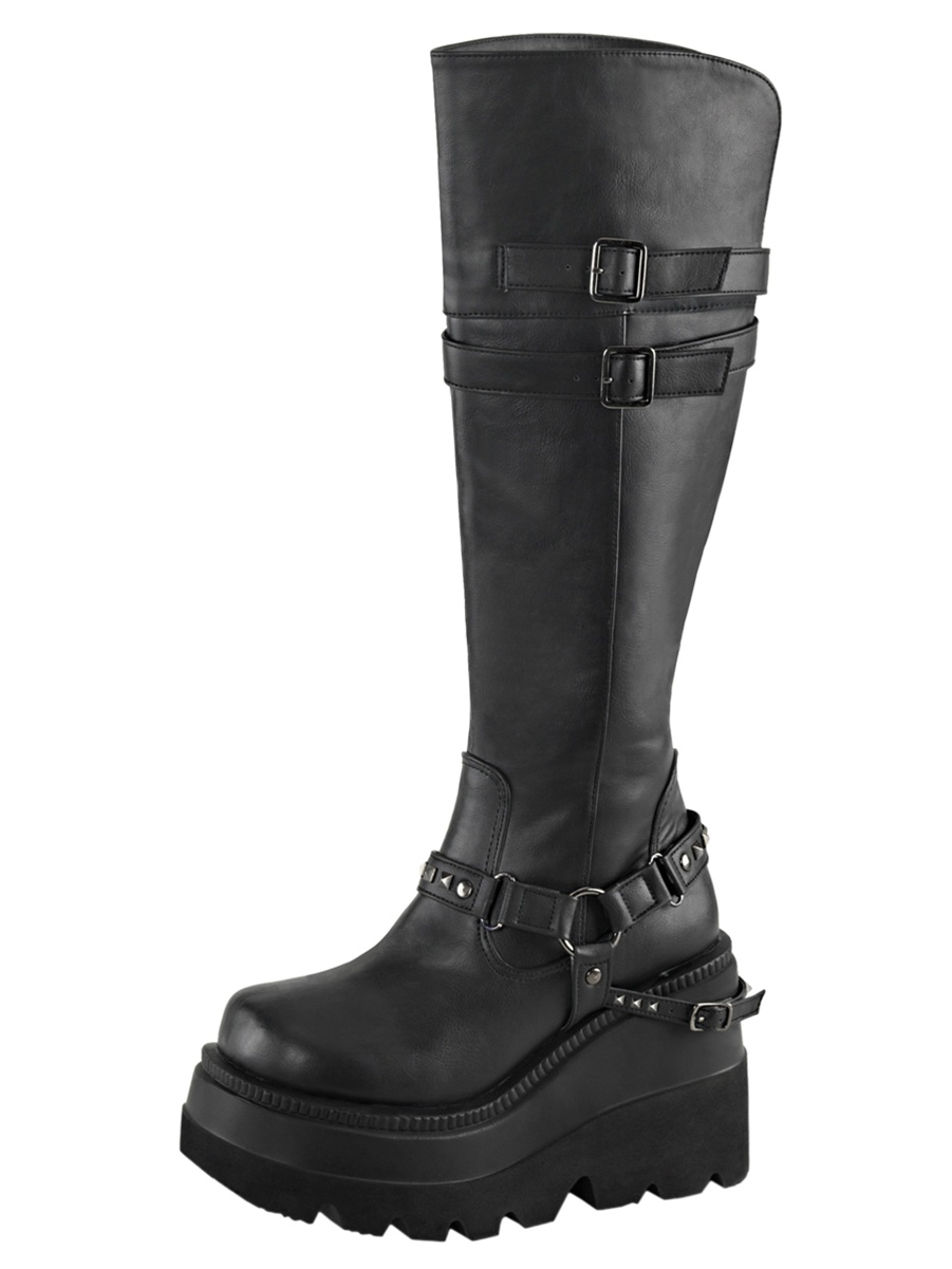 Womens Black Wedge Boots Knee High Shoes Studded Straps 4 1/2 Inch Platform