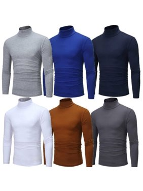 US Mens Warm Cotton High Neck Pullover Jumper Sweater Tops Turtleneck Shirts