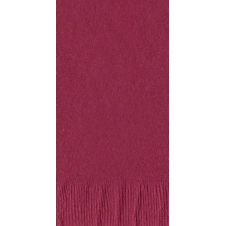 200 -  (4 Pks of 50) 2 Ply Plain Solid Colors Dinner Hand Towel Napkins Paper - Burgundy