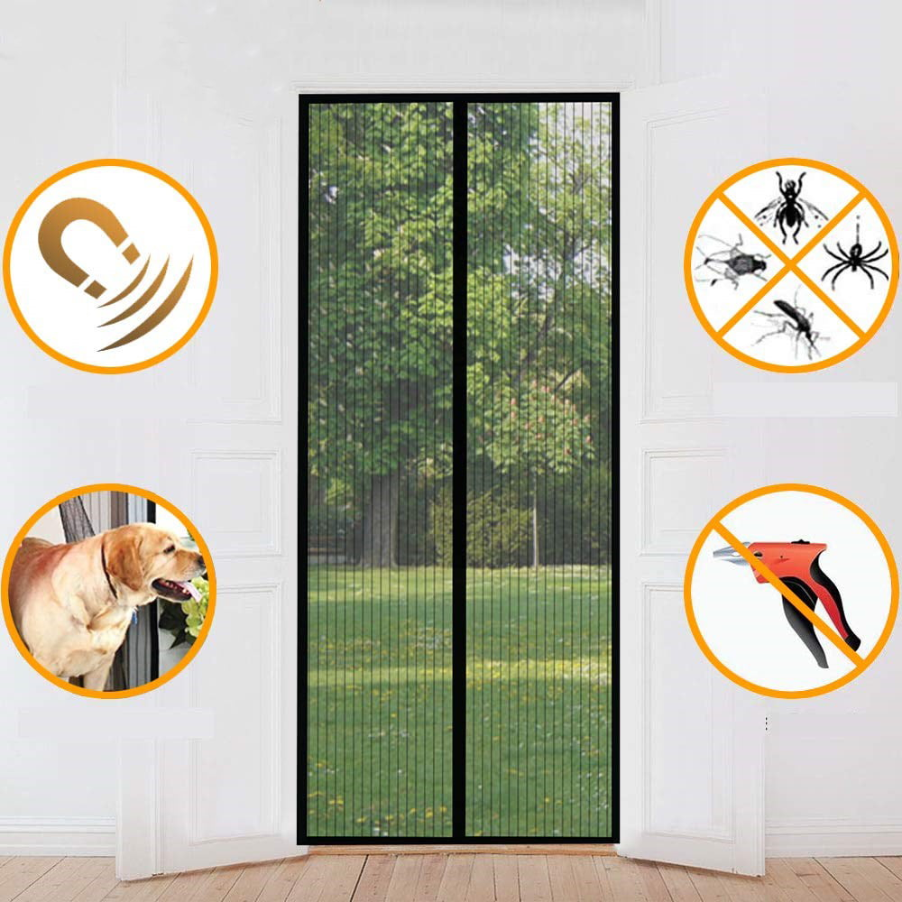 Yurun Magnetic Fly Insect Screen Door Black 27x70inch Easy Installation Without Drilling Close Automatically Keep Bugs Out Fresh Air in Toddler /& Pet Friendly