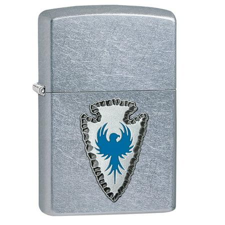 Zippo Pewter Emblem Black Crackle - Zippo Arrowhead Emblem Pocket Lighter with Street Chrome 29101