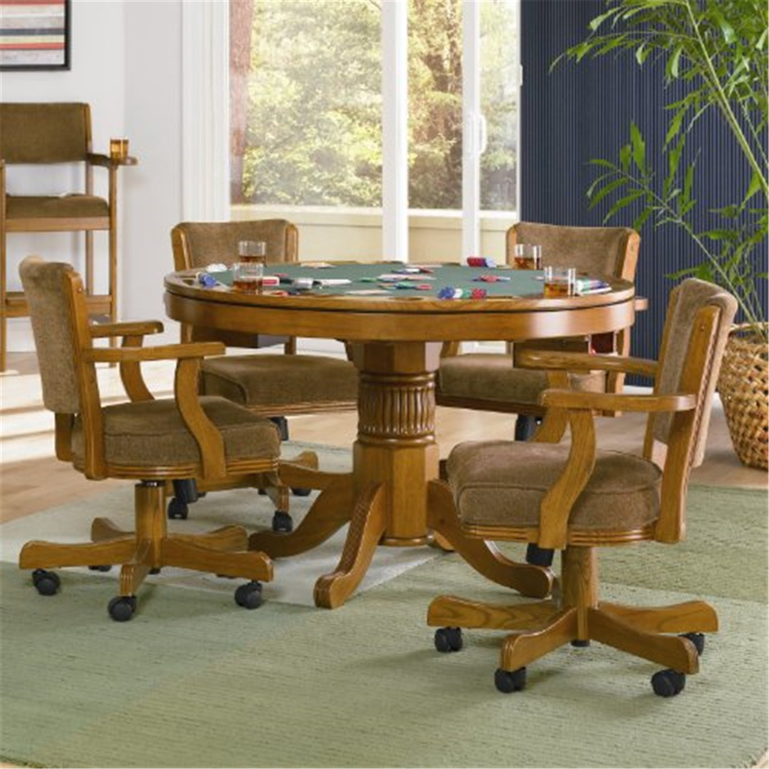 Coaster Mitc 5 Piece 3 In 1 Game, Round Gaming Table With Chairs