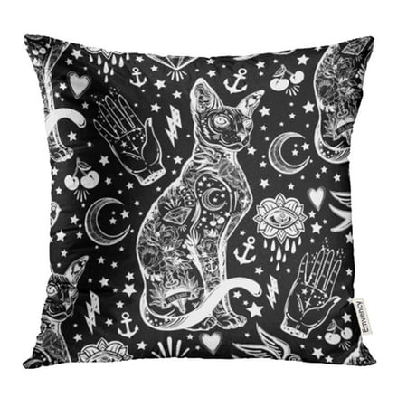ARHOME Black Cat Portrait with Moon and Three Eyes Hand Third is Open for Halloween Tattoo Pillow Case Pillow Cover 16x16 inch Throw Pillow Covers - Jcpenney Halloween Portraits