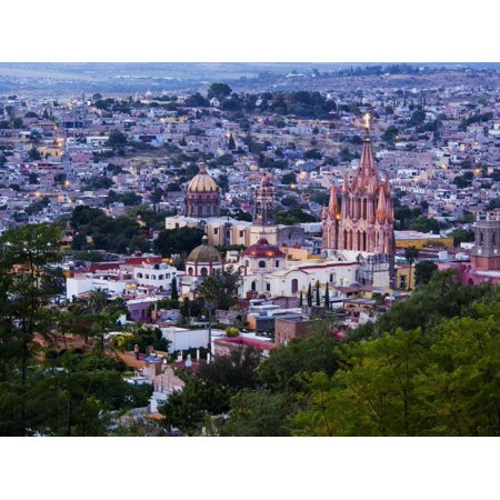 Evening City View from above City with Parroquia Archangel Church San Miguel De Allende Print Wall Art By Terry