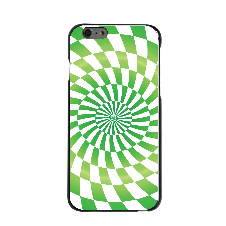 "CUSTOM Black Hard Plastic Snap-On Case for Apple iPhone 7 PLUS / 8 PLUS (5.5"" Screen) - Green White Swirl Geometric"