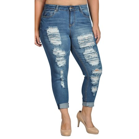 09c99d83a58 Doll House - Womens Stretch Pull-on Skinny Ripped Distressed Denim Jeans -  Walmart.com