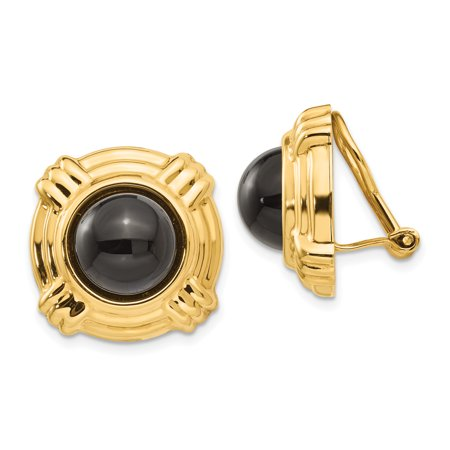 14kt Yellow Gold Omega Clip Black Onyx Non Pierced On Earrings Fine Jewelry Ideal Gifts For Women Gift Set From Heart 14k Yellow Gold Clip