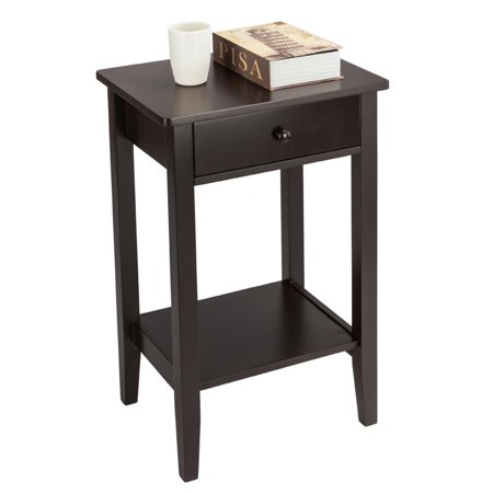 Ktaxon Bedside Nightstand 24.5-inch Tall End Tables with Drawer & Roomy Storage Cabinet, Brown