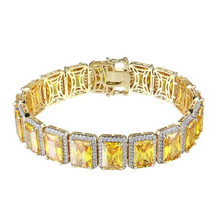 Canary Yellow (Real Genuine Sterling Silver 14K Yellow Gold Finish Canary Citrine Topaz Simulated Diamonds Unisex Bracelet 12mm/7.5)