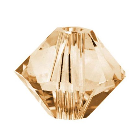 Swarovski Crystal, #5328 Bicone Beads 3mm, 25 Pieces, Crystal Golden Shadow