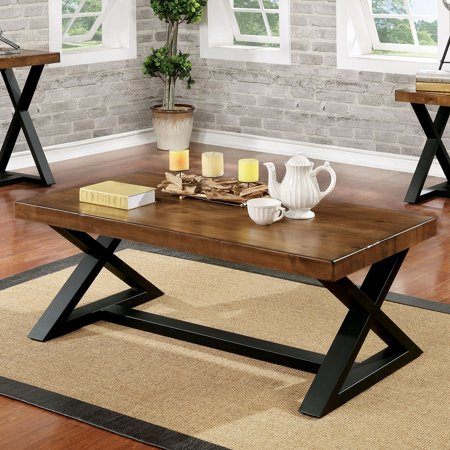 Furniture of America Wildrow Rustic Oak Wood Trestle Coffee Table by FOA