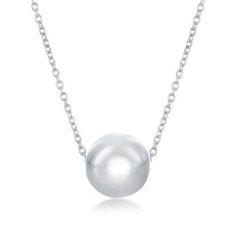 Sterling Silver Italian High Polish Bead Ball 16+2'' Necklace](Silver Beaded Necklaces)