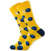 Men's Novelty Fun Sport Theme Balls Dress Socks Bowling & Bowling Pins Crew Socks in Yellow,Great Holiday/Birthday Gift For Men