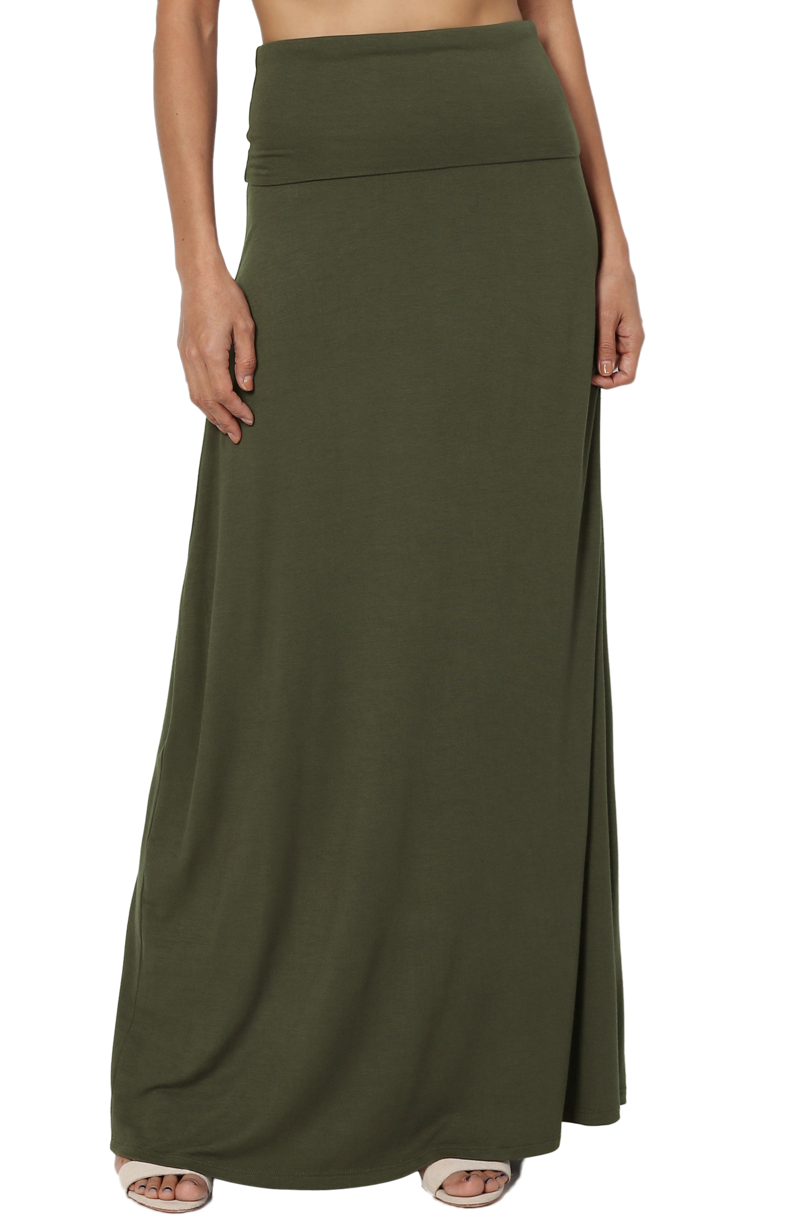 TheMogan Women's Casual Solid Draped Jersey Foldable Waist Relaxed Long Maxi Skirt