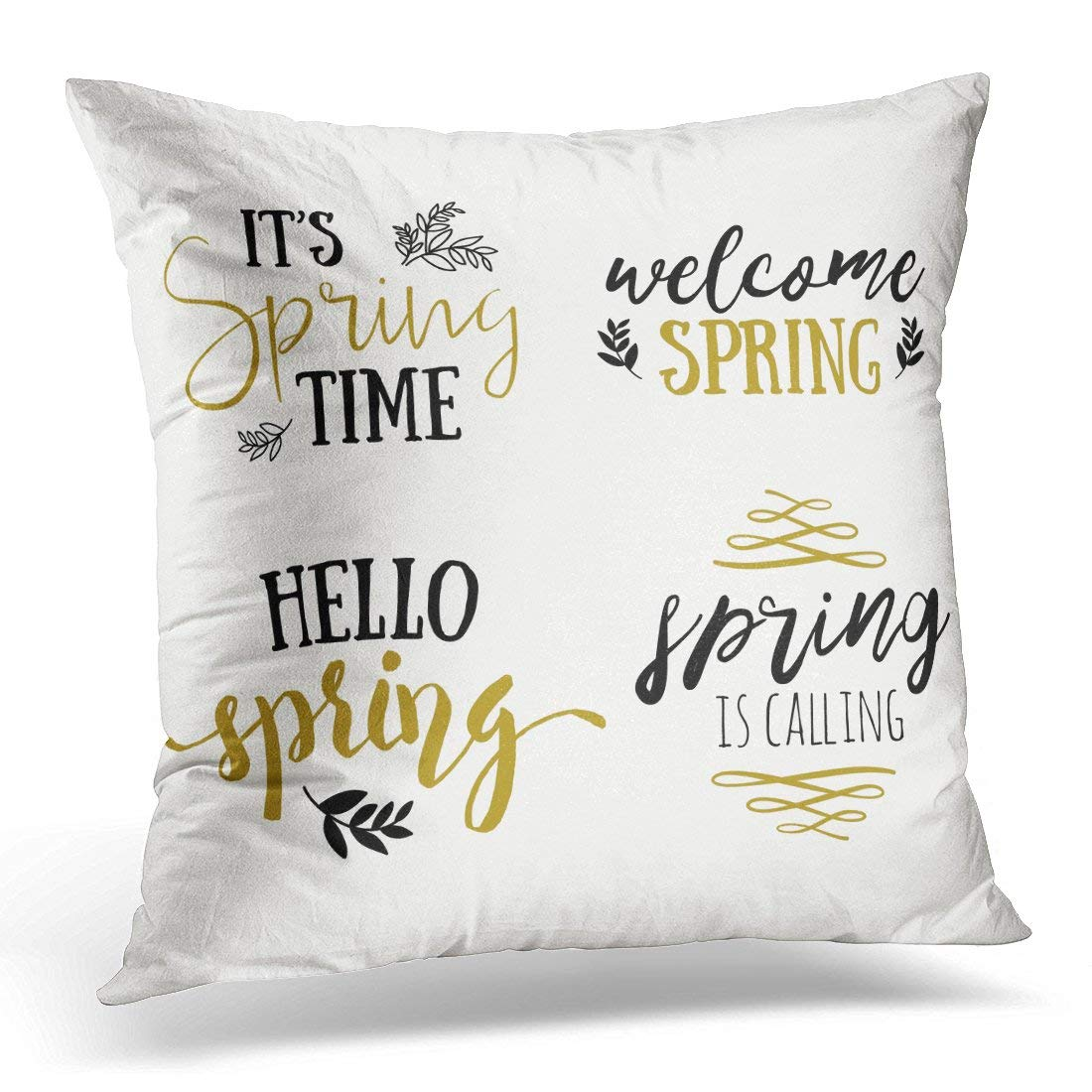 USART Hello It's Spring Time Lettering Special Sale in Gold Black and White Colors Coming Pillow Case Pillow Cover 18x18 inch