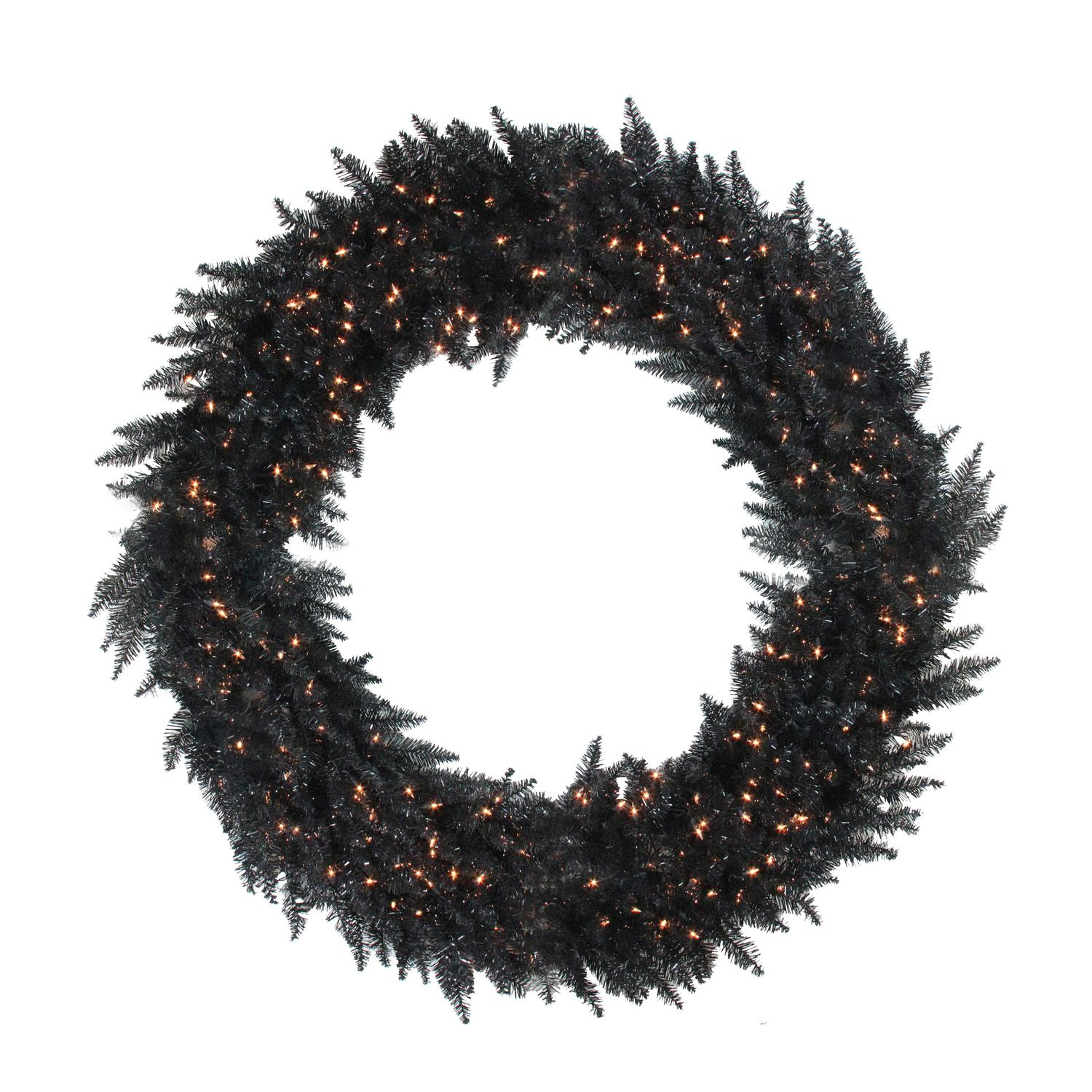 "48"" Pre-Lit Black Ashley Spruce Artificial Christmas Wreath - Clear Lights"