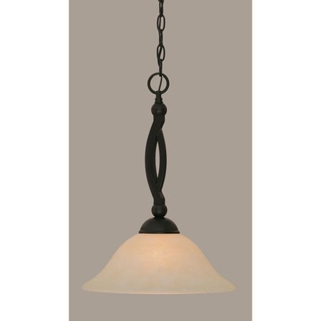 - Bow Matte Black 12-Inch One Light Pendant with Amber Marble Glass