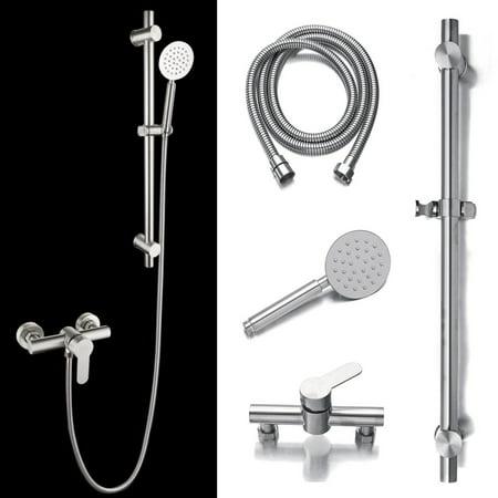 KUDOSALE Rain Shower System Adjustable Chrome Shower Slider Riser Rail Bar Kit Handheld Shower Head & Hose Holder Set