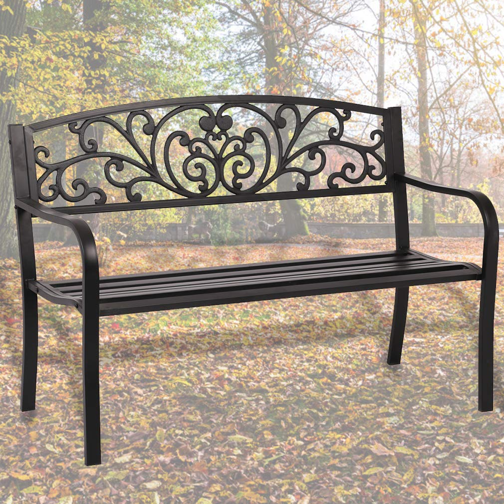 Patio Park Garden Bench Porch Path Chair Outdoor Deck Steel Frame