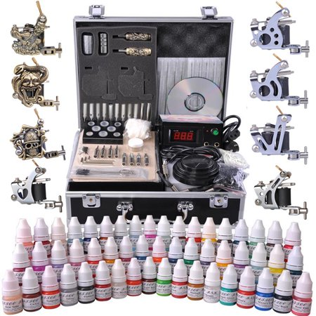 Yescom Pro Complete Tattoo Kit 8 Machine 54 Ink LCD Power Supply w/ Case ()