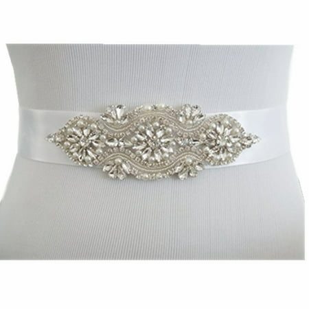 YZEO Wedding Sash, Rhinestones Pearls Wedding Belt, Bridal Sash, Jeweled Wedding