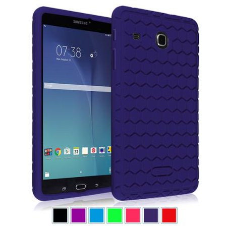 Fintie Silicone Case for Samsung Galaxy Tab E 8.0 Tablet - Lightweight Anti Slip Shock Proof Skin Cover, Navy (Samsung Galaxy Tab 2 Skin)
