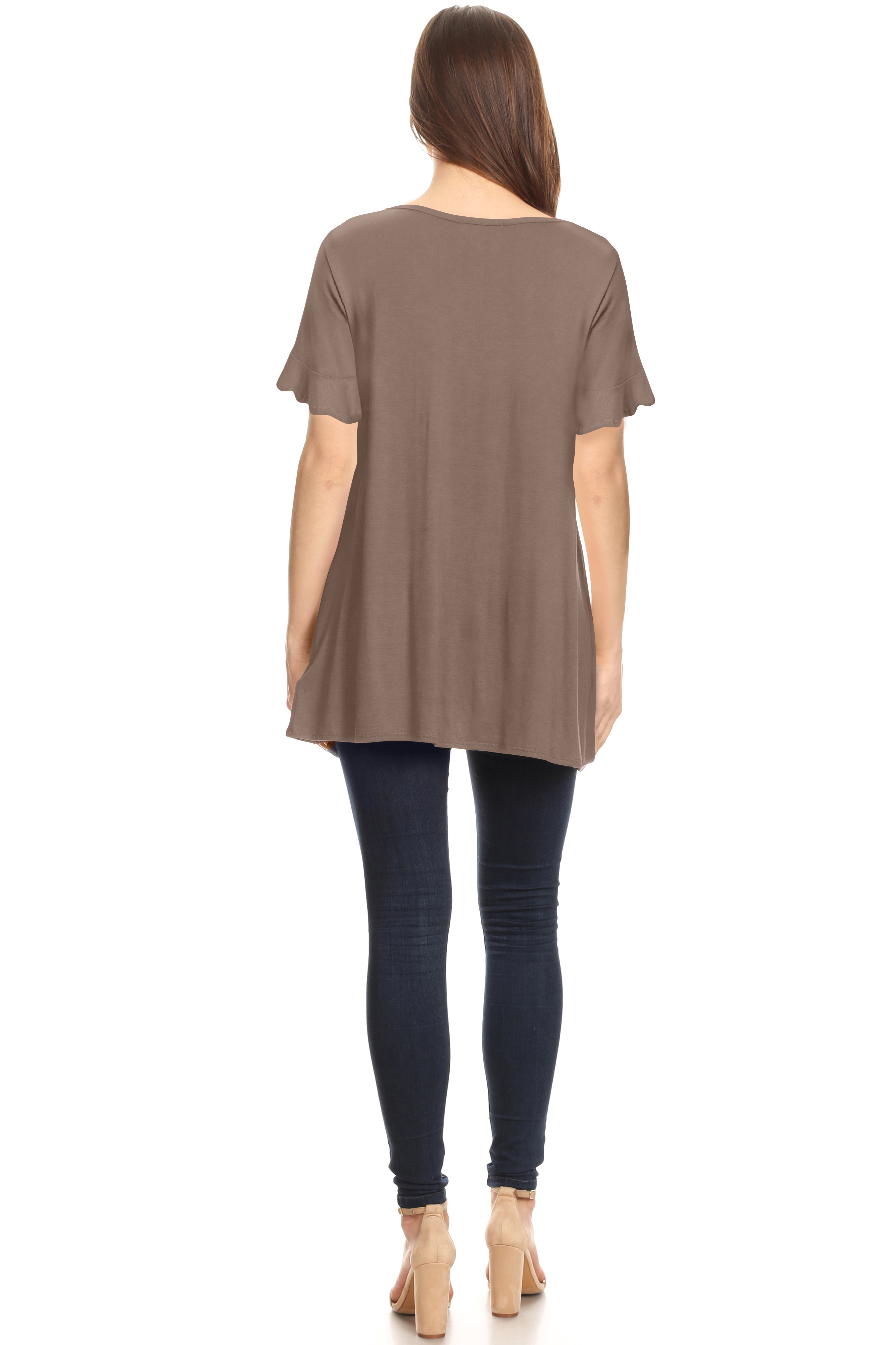 aaa2b6f53ad5c8 Simlu - Womens Ruffle Sleeve Tunic Tops to Wear with Leggings - Walmart.com