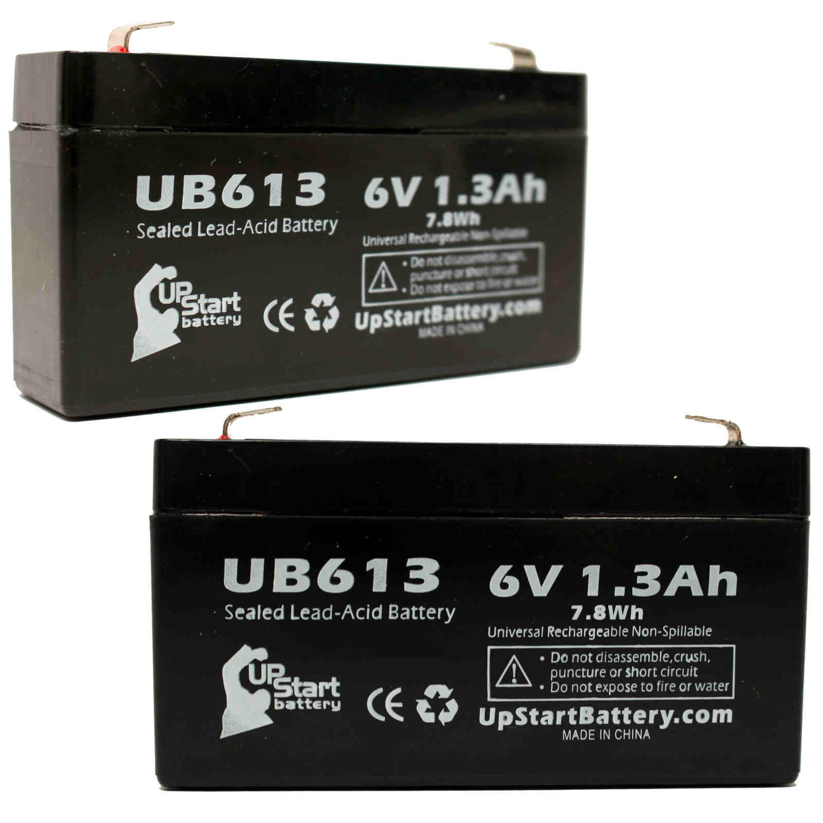 2x Pack - LICHPOWER DJW6-12 Battery Replacement -  UB613 Universal Sealed Lead Acid Battery (6V, 1.3Ah, 1300mAh, F1 Terminal, AGM, SLA) - Includes 4 F1 to F2 Terminal Adapters