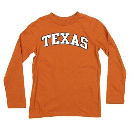 - OuterStuff NCAA Texas Longhorns Youth Boys Long Sleeve Team Font Shirt, Burnt Orange