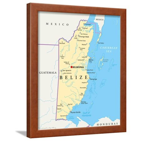 Belize Political Map.Belize Political Map Framed Print Wall Art By Peter Hermes Furian