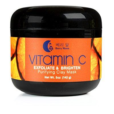 berry moon anti-aging vitamin c clay mask for rough skin, clogged pores, wrinkles, dark spots. with hyaluronic acid, ferulic acid and argan oil. large 5oz