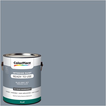 - ColorPlace Pre Mixed Ready To Use, Interior Paint, Blue Grey Sky, Flat Finish, 1 Gallon