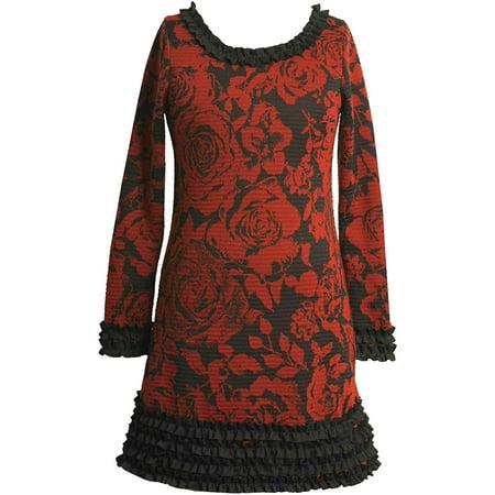 Little Girl 2T-6X Red/Black Ruffle Border Floral Print Knit Sheath Dress, 4 [BNJ04751]