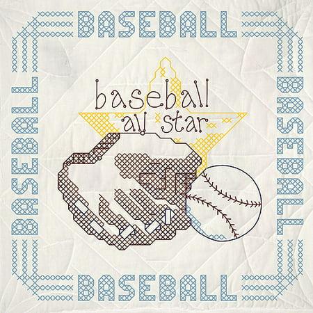 Fairway Needlecraft Baseball Stamped Quilt Blocks, 18