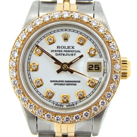 Preowned Customized Rolex Ladies Datejust 69173 Two-Tone Watch (Certified Authentic/Warranty)