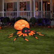 8' Wide Fire and Ice Orange Spider Halloween Airblown Inflatable