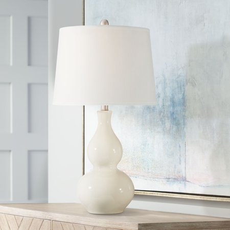 360 Lighting Modern Table Lamp White Cream Ceramic Double Gourd Drum Shade for Living Room Family Bedroom Bedside - Modern Double Light