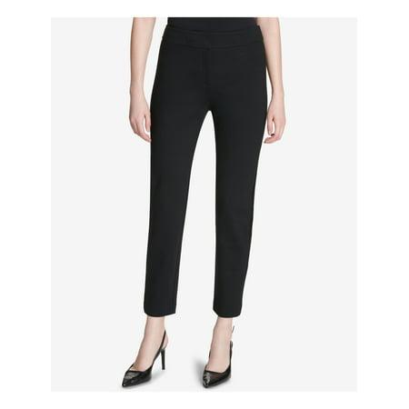 CALVIN KLEIN Womens Black Faux Leather Stripe Ankle Pants Size: 12