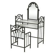 Zimtown Vanity Dressing Table Set Jewelry Makeup Desk Mirror Bedroom with Stool