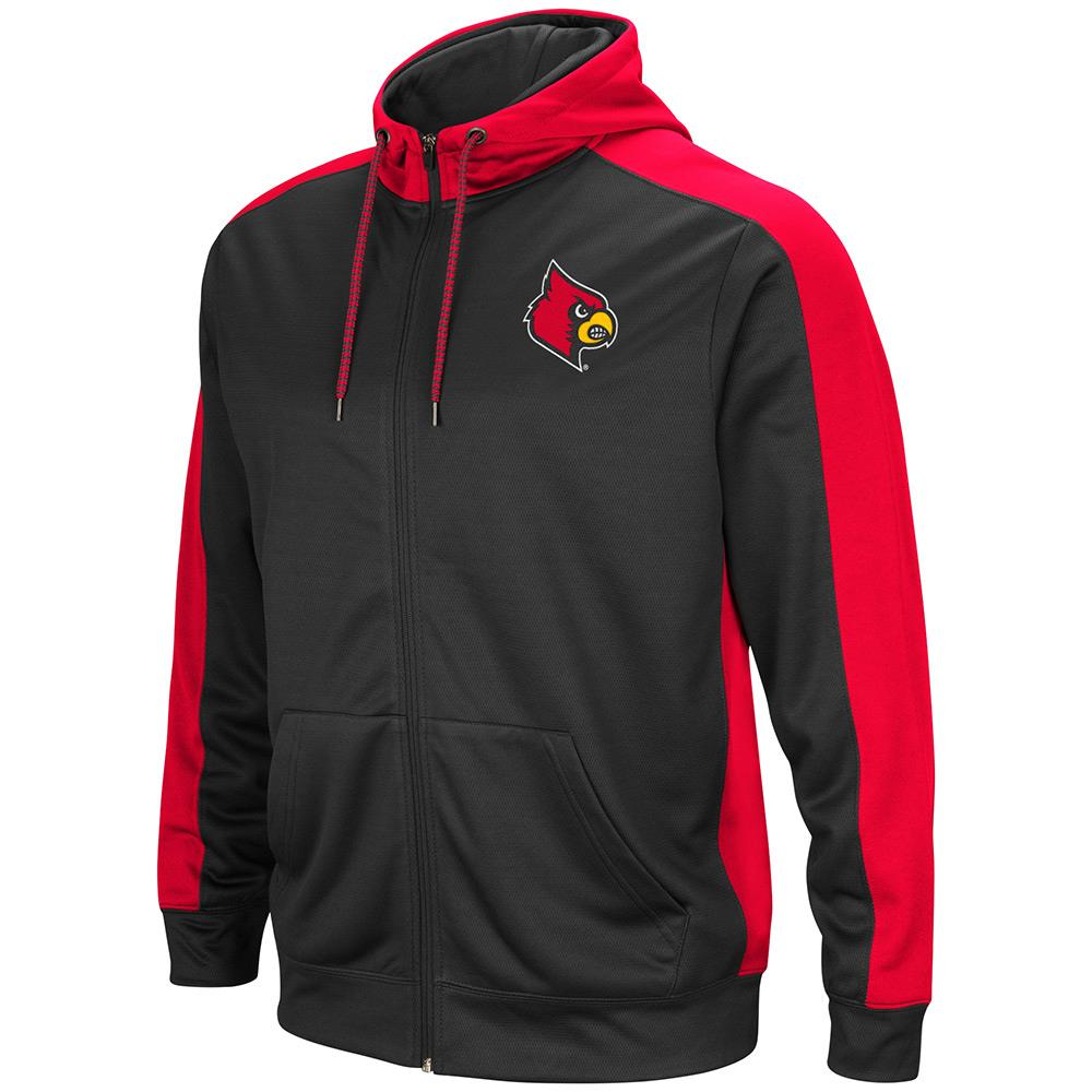 Mens NCAA Louisville Cardinals Full-zip Hoodie (Charcoal) by Colosseum